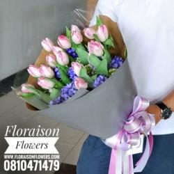 ช่อดอกไม้ ทิวลิปชมพู ม่วง (L)