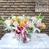 กระเช้าดอกไม้ แสดงความยินดี โทนสีสดใส ชมพู ส้ม ขาว (L)