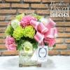 แจกันดอกไม้ ชมพู เขียว สดใส (M)