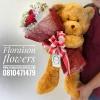 ตุ๊กตาหมี กอดช่อดอกกุหลาบแดง ส่งความรัก (ช่อแดง)