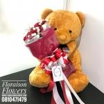 ตุ๊กตาหมี กอดช่อกุหลาบแดง (L)