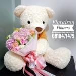 ตุ๊กตาหมี อุ้มช่อดอกไม้ สีหวานๆ Premium