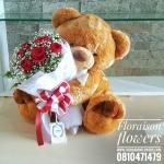 ตุ๊กตาหมี กอดช่อดอกกุหลาบแดง (L)
