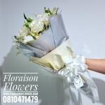 ช่อดอกไม้ กุหลาบขาว เรียบหรู (L)