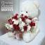 ตุ๊กตาหมีกอดตะกร้าดอกไม้ กุหลาบแดง ขาว (PREMIUM) thumbnail 2