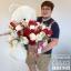 ตุ๊กตาหมีกอดตะกร้าดอกไม้ กุหลาบแดง ขาว (PREMIUM) thumbnail 3