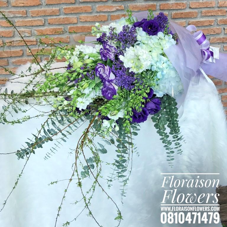 ช่อดอกไม้สไตล์อังกฤษ ไซส์ XL โอกาสแสดงความยินดี โทนสีม่วงพาสเทล