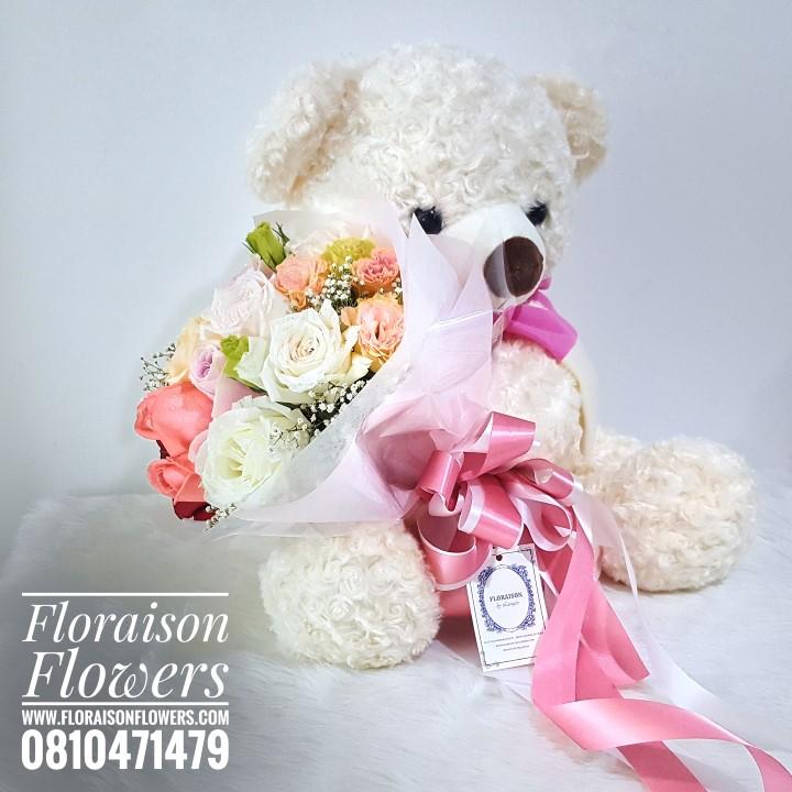 ตุ๊กตาหมี ช่อดอกไม้ สำหรับวันเกิด โทนสีสดใส